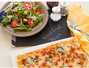 thin crust pizza and salad