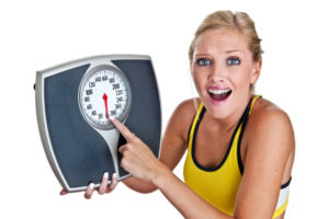 Woman surprised by the weekend weight gain amount