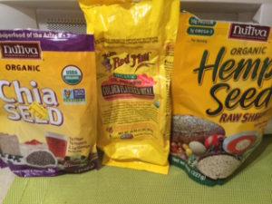 chia, flax and hemp seeds