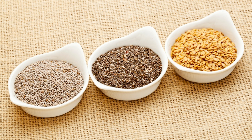 chia, hemp and flaxseeds