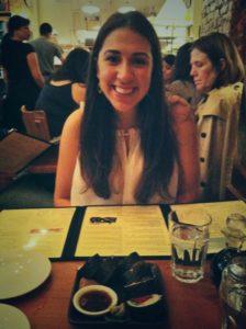 girl at vegan restaurant