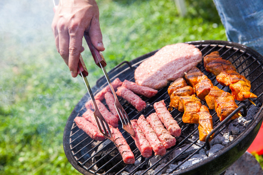 beef, pork, chicken, sausages  on the grill