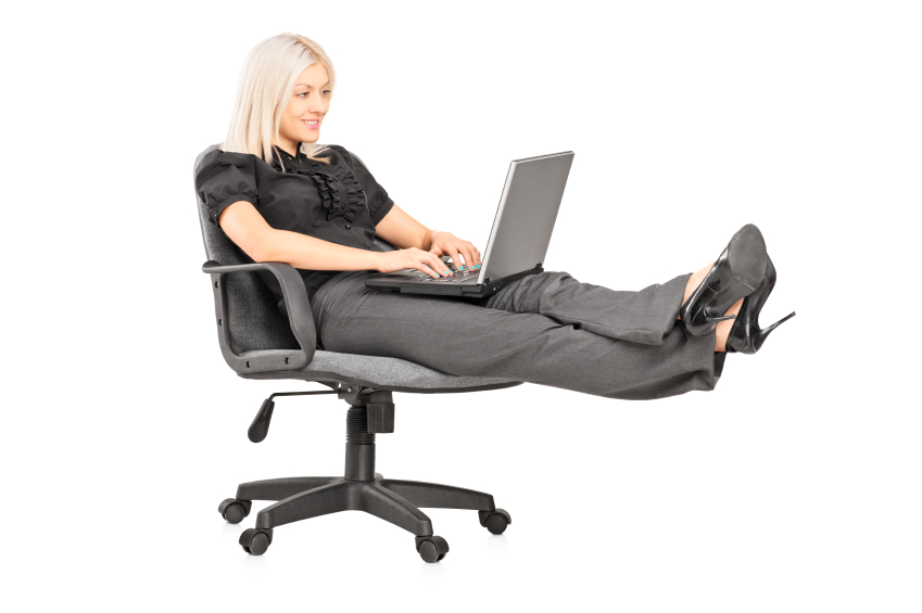 woman sitting on chair working