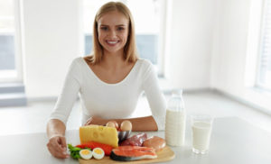 woman eating protein rich foods