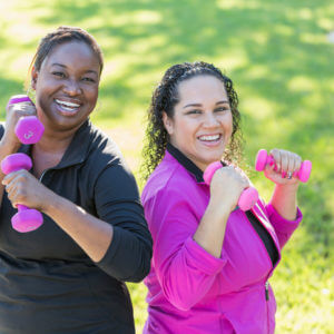 2 women exercising