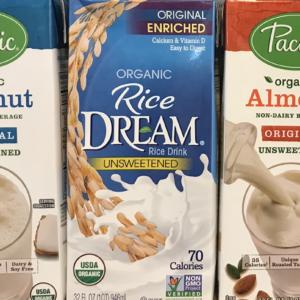 Non-dairy milk, rice milk, coconut, almond