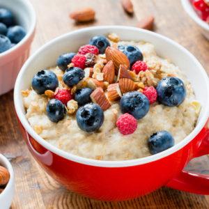 Oats, oatmeal, fruit, almonds