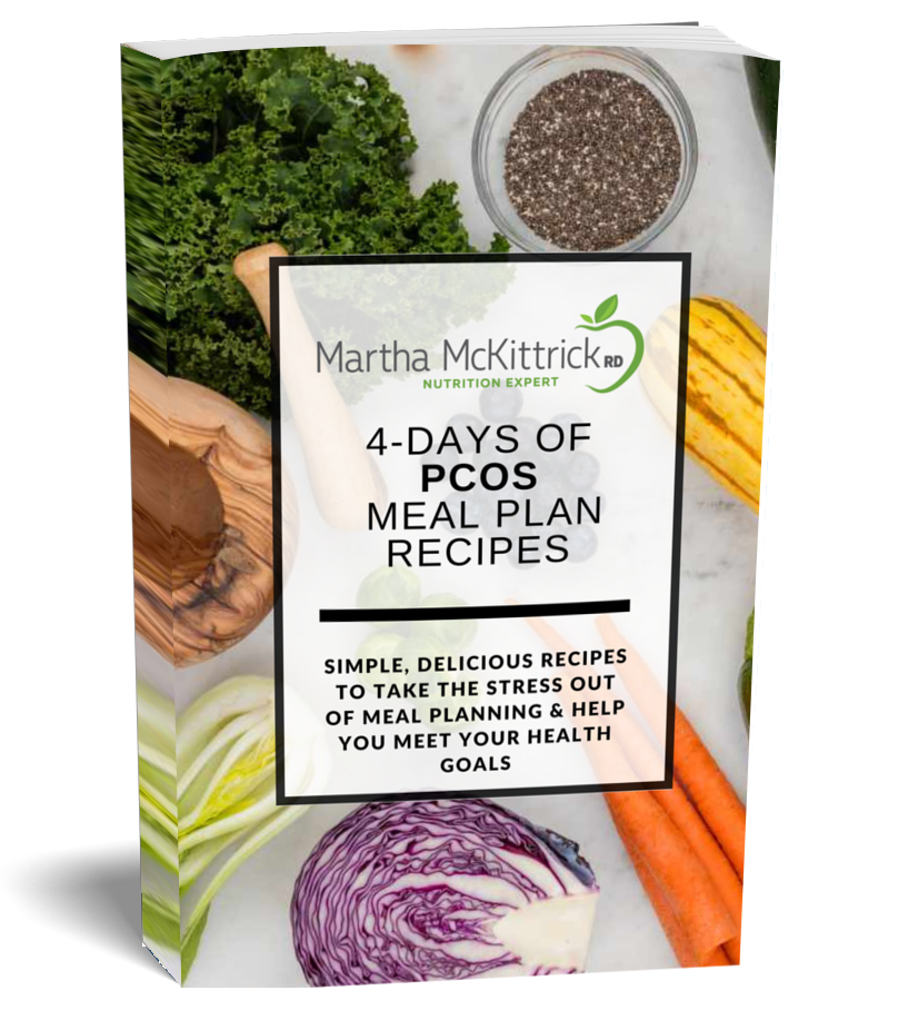 4 Days of PCOS Meal Plan Recipes: an Ebook from Martha McKittrick, Registered Dietitian and PCOS Expert