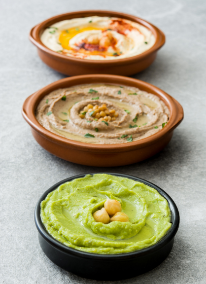 hummus, guacamole and bean dip