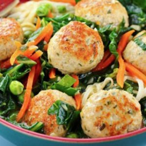 Dinner Thyme, turkey meatballs, noodles and veggies