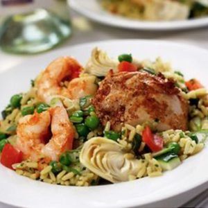 Fresh Direct, chicken and shrimp with rice, vegetables