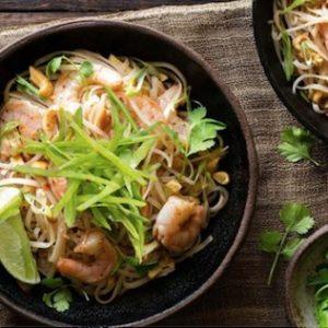 Sun Basket, pad thai, shrimp and rice noodles